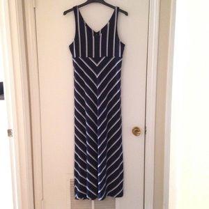 Athleta maxi dress navy and white striped